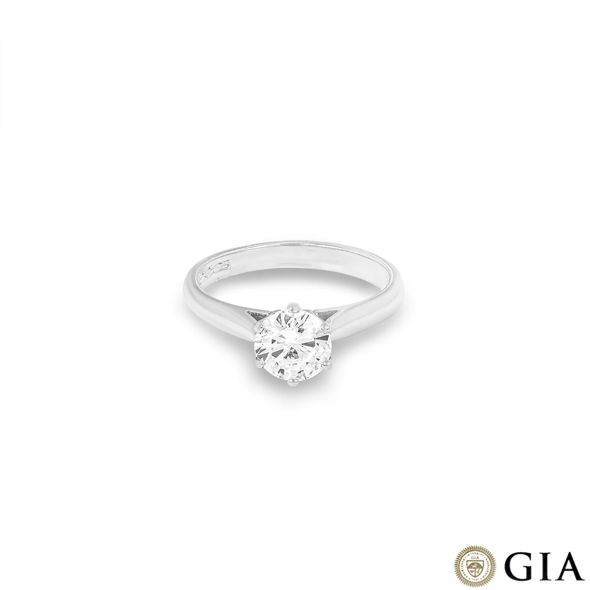 Round Brilliant Cut Diamond Ring in Platinum 1.00ct D/IF